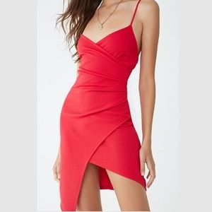 NWT Red Asymmetrical Seersucker Cami Dress Party